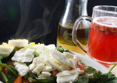 Kombucha and Salad